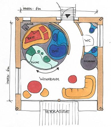План сберегающего пространство дома Rotor House. Фото