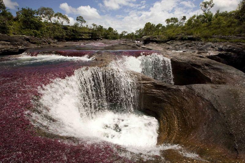 Queda de água nos poços do rio Caño Cristais.  Foto