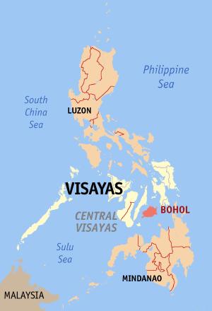 Остров Бохоль на карте Филиппин. Фото