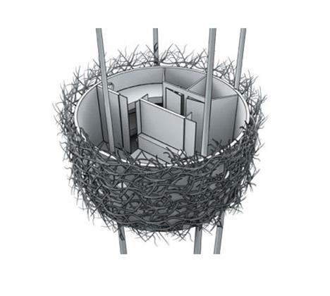Схема дома в виде гнезда. Фото