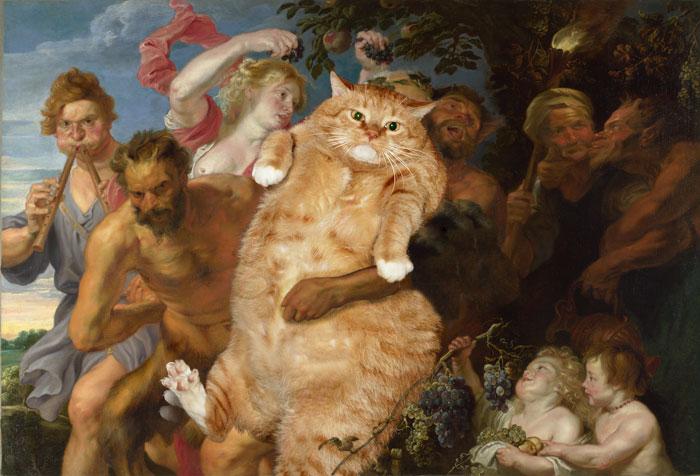 Кот, поддерживаемый сатирами