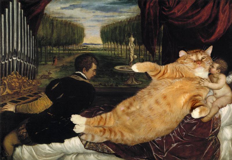 Кот с органистом и Купидоном