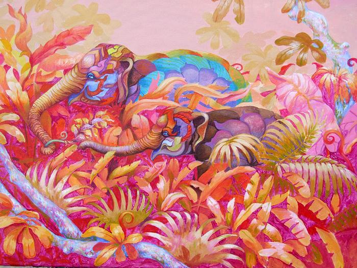 Два разноцветных слона в розовых джунглях. Картина