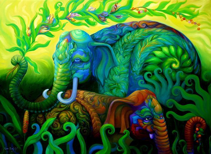 Kris Surajaroenjai - Сине-зелёный слон держит хоботом ветвь, рядом - разноцветный слонёнок. Картина