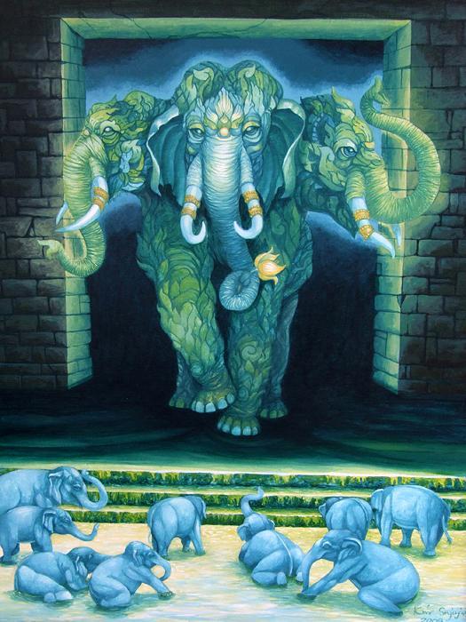 Kris Surajaroenjai - Зелёный трёхликий слон и голубые слонята. Картина