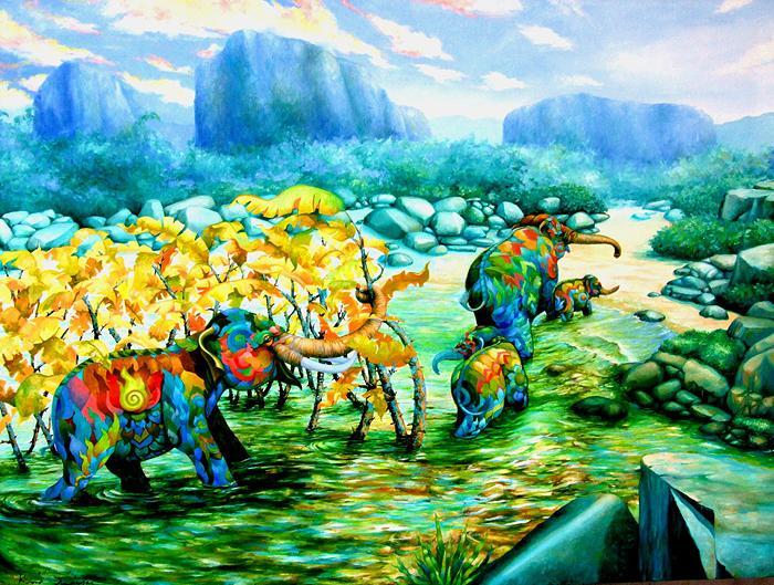 Kris Surajaroenjai - Разноцветные слоны идут домой. Картина
