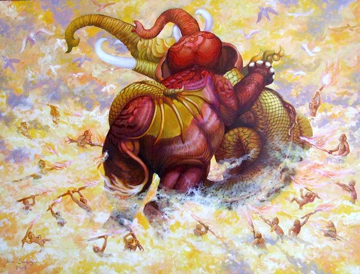 Kris Surajaroenjai - Бой слонов. Картина