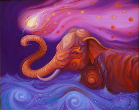 Kris Surajaroenjai - Разноцветный слон плывет с цветком в хоботе. Картина