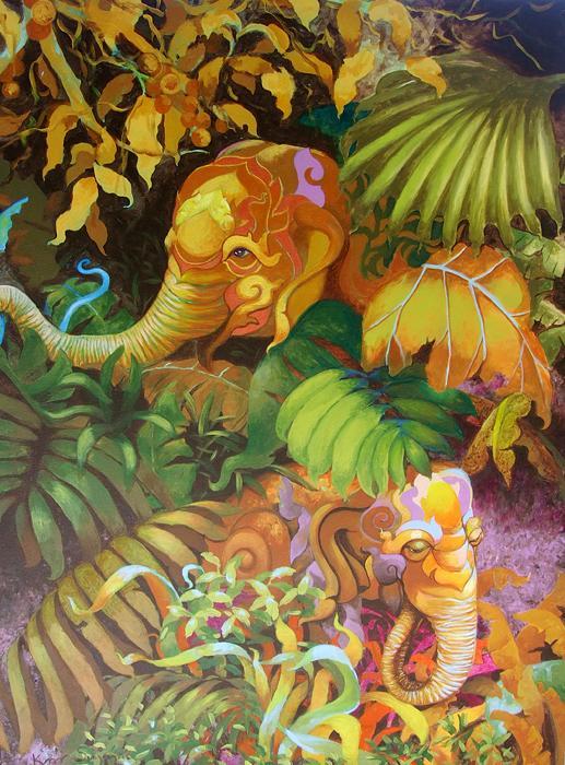 Kris Surajaroenjai - Два разноцветных слона в джунглях. Картина