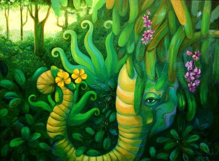 Kris Surajaroenjai - Зелёный слон в джунглях. Картина