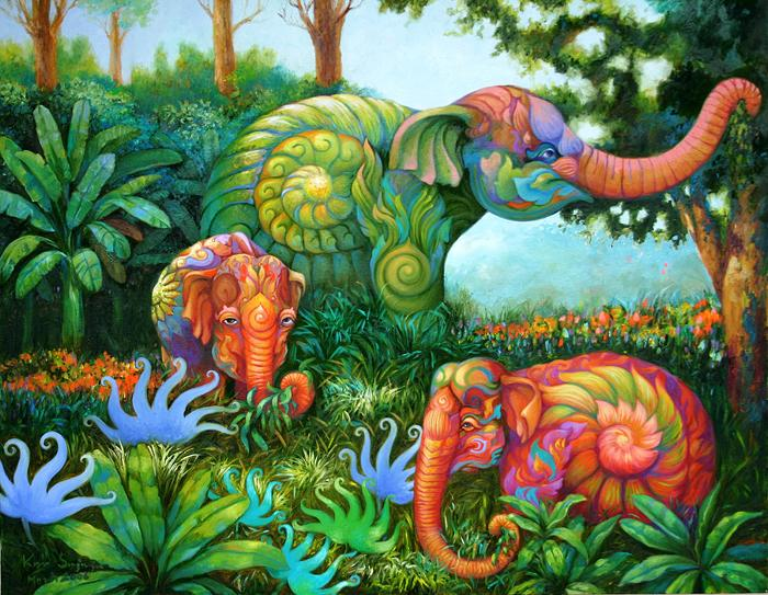Kris Surajaroenjai - Зелёный слон и розовые слоники. Картина