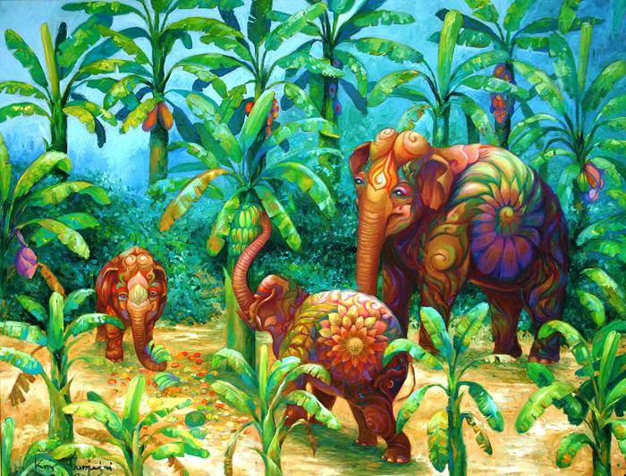 Kris Surajaroenjai - Разноцветный слон и слоники. Картина