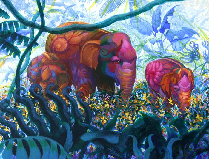 Kris Surajaroenjai - Три розовых слона. Картина