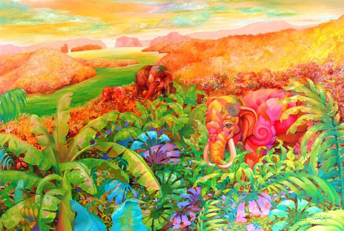 Kris Surajaroenjai - Розовые слоны. Картина