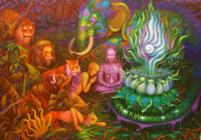 Будда Гаутама, достигший просветления и пришедшие поклониться ему существа: слон, тигры, буйвол. Картина
