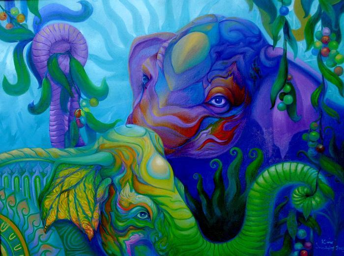 Kris Surajaroenjai - Два красивых разноцветных слона, символизирующих гармонию Востока. Картина