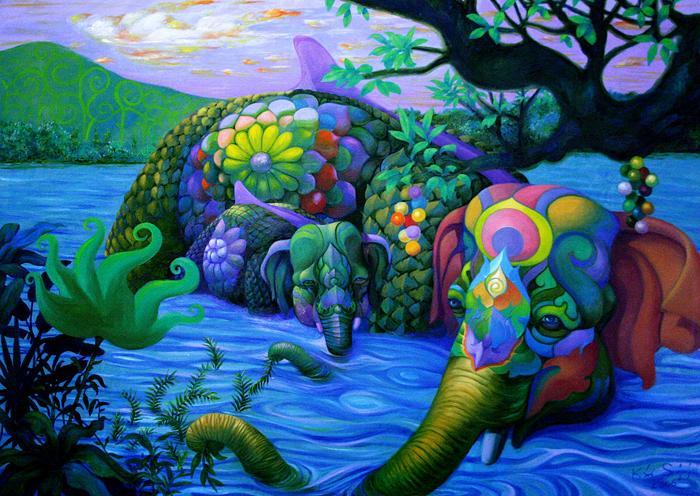 Kris Surajaroenjai - Разноцветный удивительный слон и слонёнок в реке. Картина