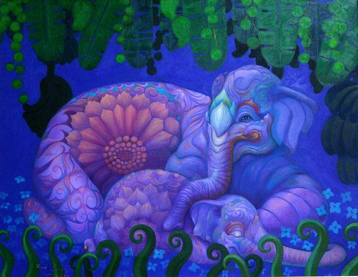 Kris Surajaroenjai - Разноцветный сине-фиолетовый слон и спящий слонёнок. Картина
