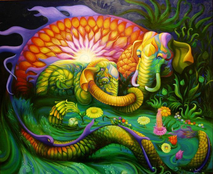 Kris Surajaroenjai - Сияющий удивительный слон и слонёнок в водном потоке. Картина