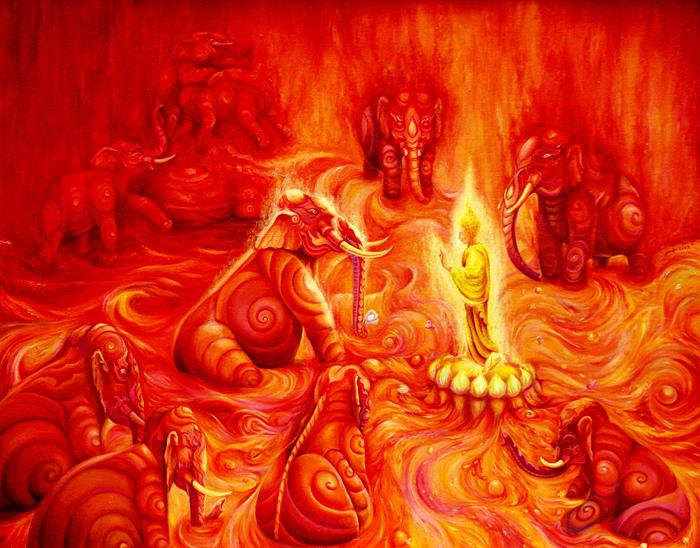 Kris Surajaroenjai - Будда Шакьямуни в окружении слонов. Картина