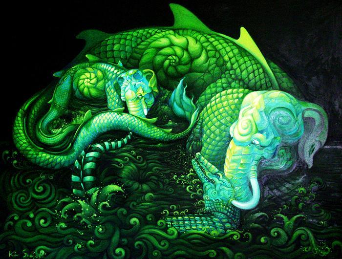 Kris Surajaroenjai - Зелёный слон спасает слоненка от нападения крокодила. Картина