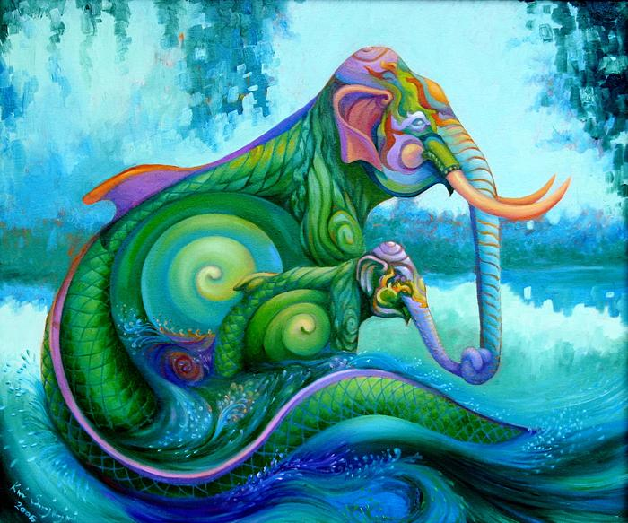 Kris Surajaroenjai - Зелёный слон защищает слонёнка. Картина