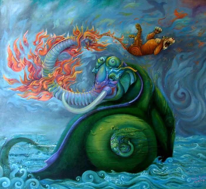 Kris Surajaroenjai. Огнедышащий слон, спасая слонёнка-эмбриона, опаляет огнём напавшего тигра. Картина