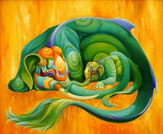 Kris Surajaroenjai. Зелёный слон обнял хоботом слонёнка. Картина
