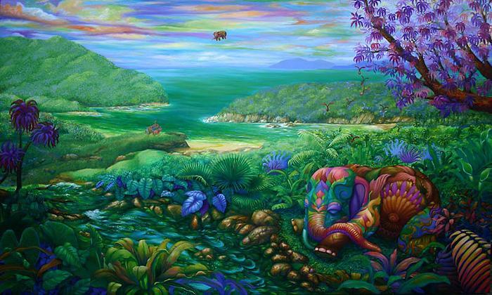 Kris Surajaroenjai. Слоник ждёт свою вторую половинку, спускающуюся с небес. Картина