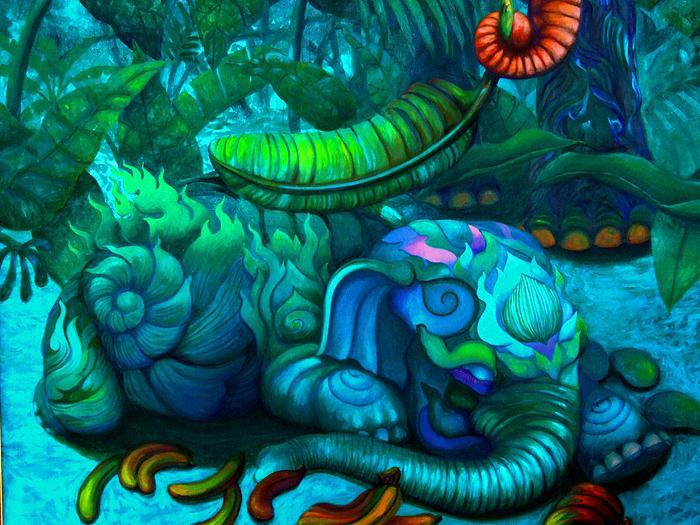 Kris Surajaroenjai. Синий слоник спит. Картина