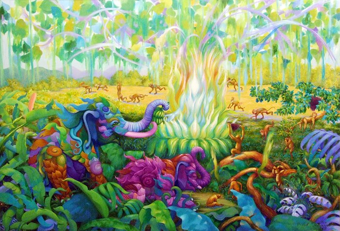 Kris Surajaroenjai. Разноцветные слоны и резвящиеся обезьянки. Картина
