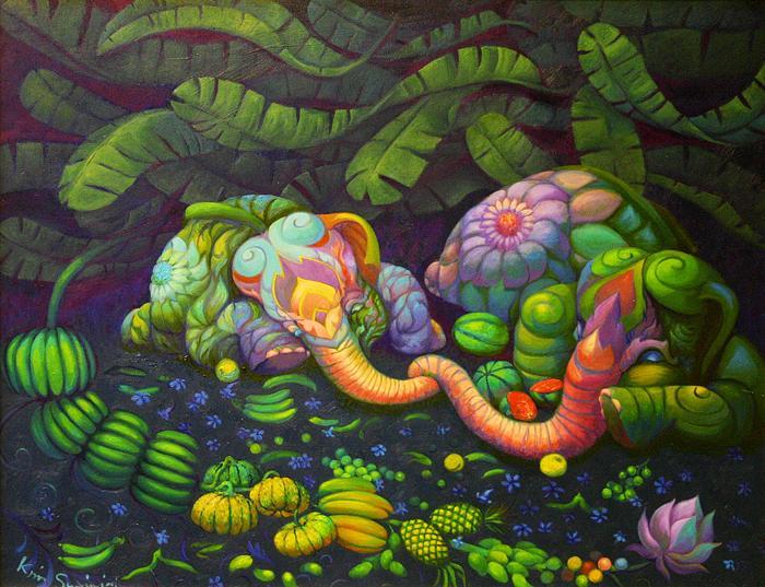 Kris Surajaroenjai. Спящие разноцветные слоники. Картина