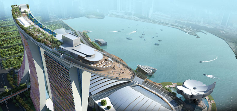 Необычная гостиница Marina Bay Sands. Вид сверху. Фото