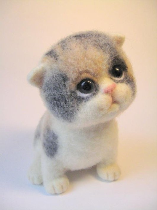 Войлочные игрушки - котенок. Фото