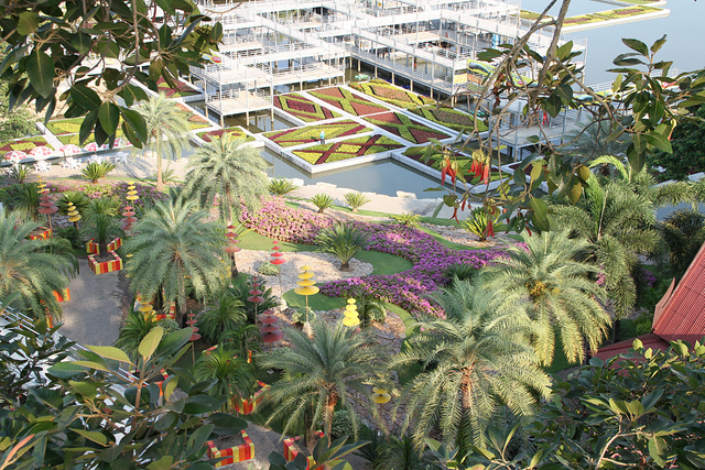 Сад зонтиков в парке Нонг Нуч в Таиланде. Паттайя. Фото