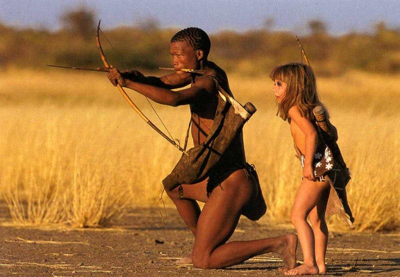 Типпи Дегре с аборигеном. Девочка-Маугли в Африке. Фото