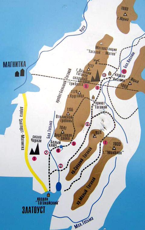 Карта. Национальный парк Таганай. Урал