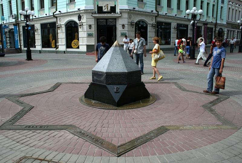 Скульптура в Казани - компас или Пуп. Фото