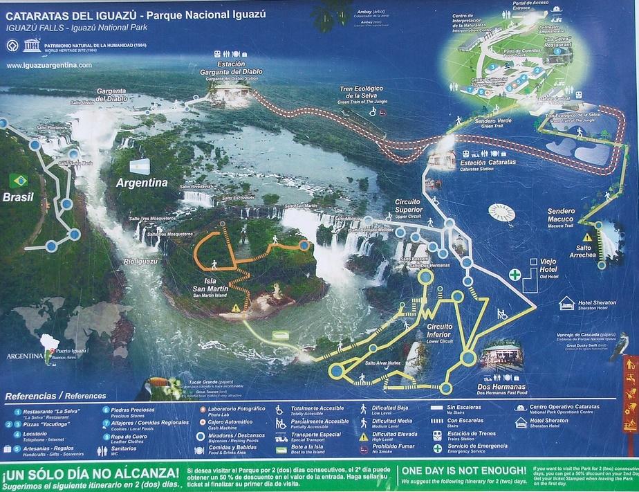 Карта. Водопады Игуасу в Бразилии и Аргентине. Фото