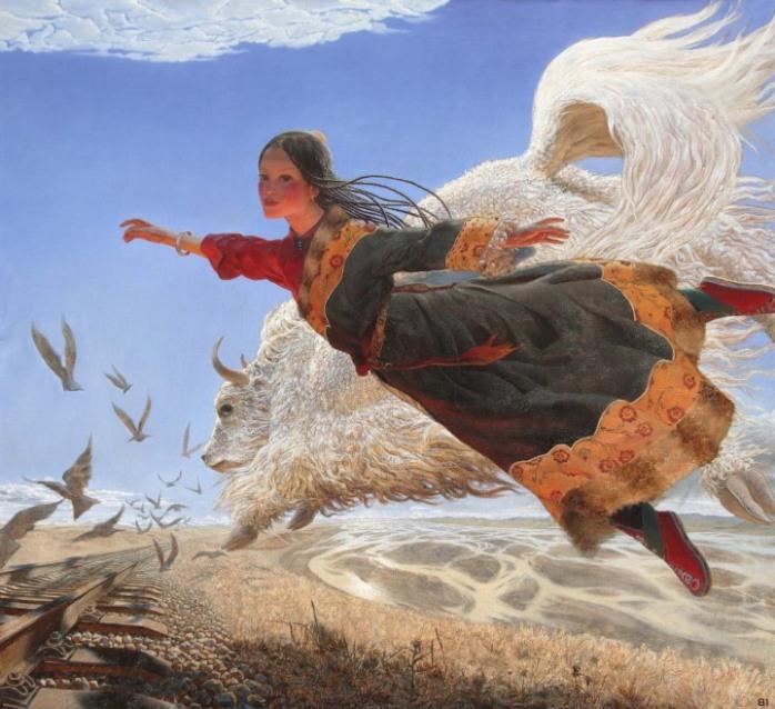 Тибетская девушка и як в воздухе