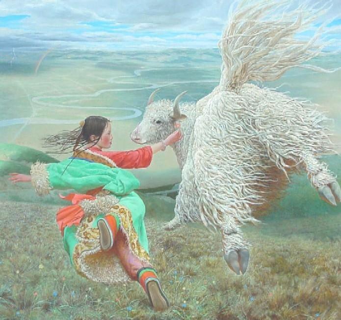 Тибетская девушка и як летают