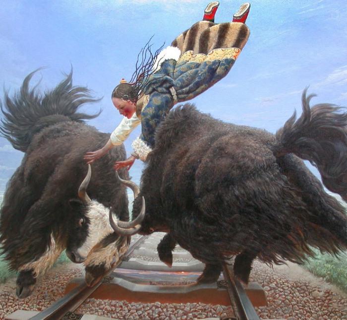 Тибетская девушка и яки летают