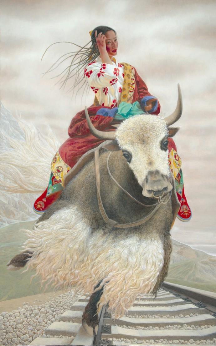 Тибетская девушка летает на яке
