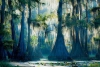 Сказочные кипарисы на озере Каддо в Техасе, США (30 фото)